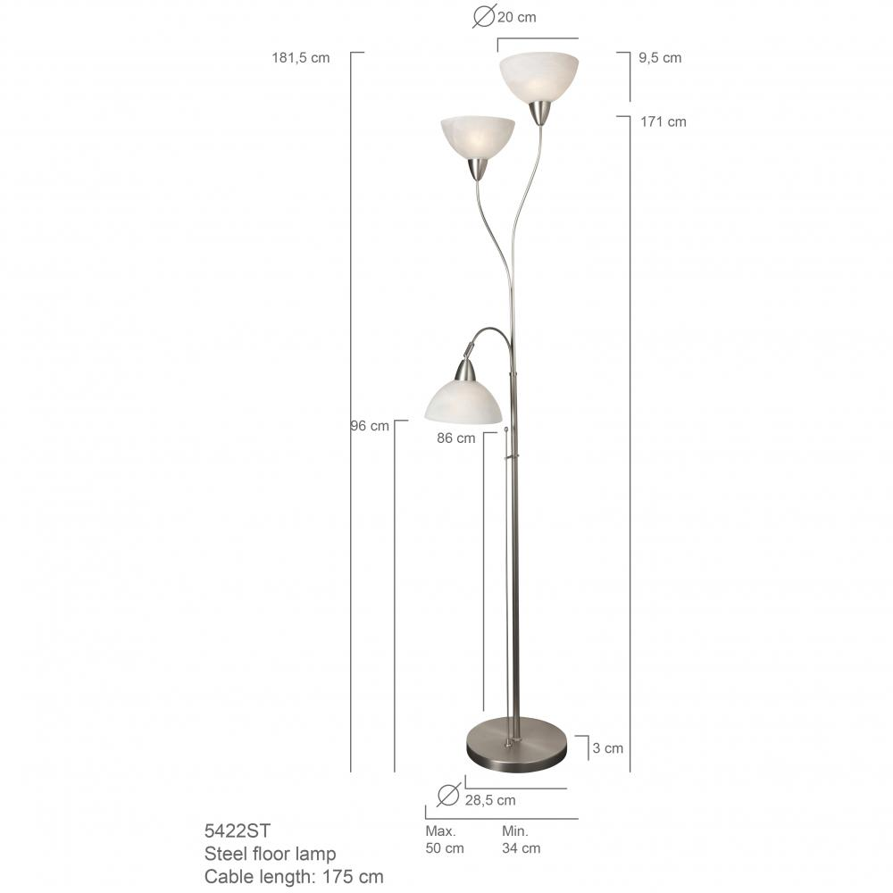 3 lights fashion bow glass shade floor lamp