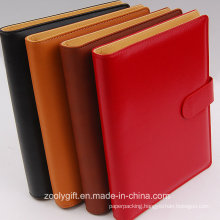 A5 PU Leather 6 Ring Binders Planner / PU Leather Ring Binders Organizer with Card Slots and Flap Snap Closure