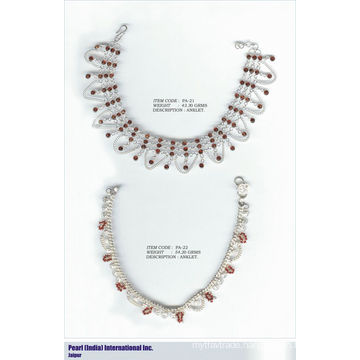 Anklets In 925 Sterling Silver Studded With Semi Precious Stones Wholesaler Indian Silver Jewelry
