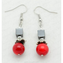 Red Coral Square Beads hematita pendiente