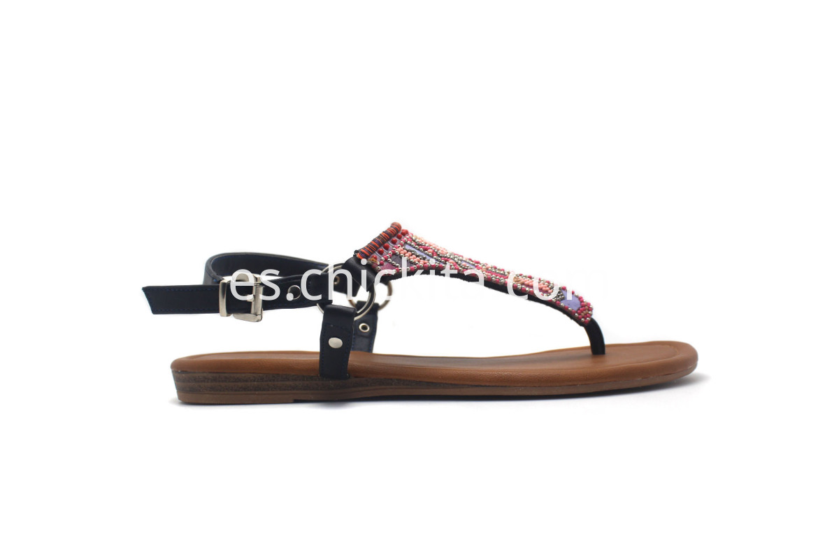 Ladies Fashion Flat Sandals Shoe With Colored decorative beads