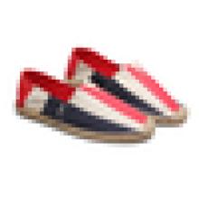 Wide striped canvas shoes Women casual jute sole espadrille