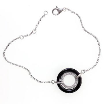 Keramik und 925 Sterling Silber Armband (T20014)