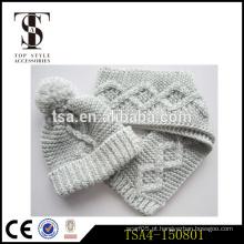 Clássico design profissional fábrica moda curto inverno malha lenço chapéu anexado conjuntos