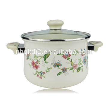 korean high quality enamel casserole pot with glass lid