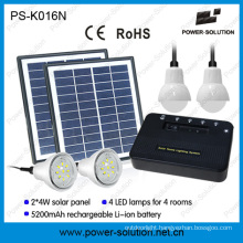 Portable Solar Home Lighting System with 4 Bulbs and USB Solar Phone Cahrger
