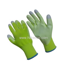 Hi-Vis Green PU Coated Ladies Gloves I-Touch Fingertips Work Glove
