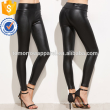 Black Plain Leather Leggings OEM/ODM Manufacture Wholesale Fashion Women Apparel (TA7017L)