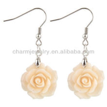 Fashion Rose Flower Earrings Coral White Rose Flower Earring FE-002
