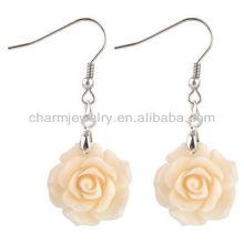 Moda rosa flor brincos coral rosa branca flor brinco FE-002