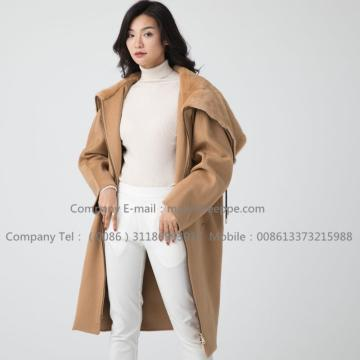 Lady Cashmere Coat Với ​​Mink Fur