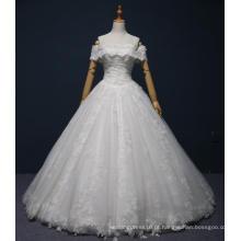 fora do ombro rendas até o chão vestido de noiva nupcial
