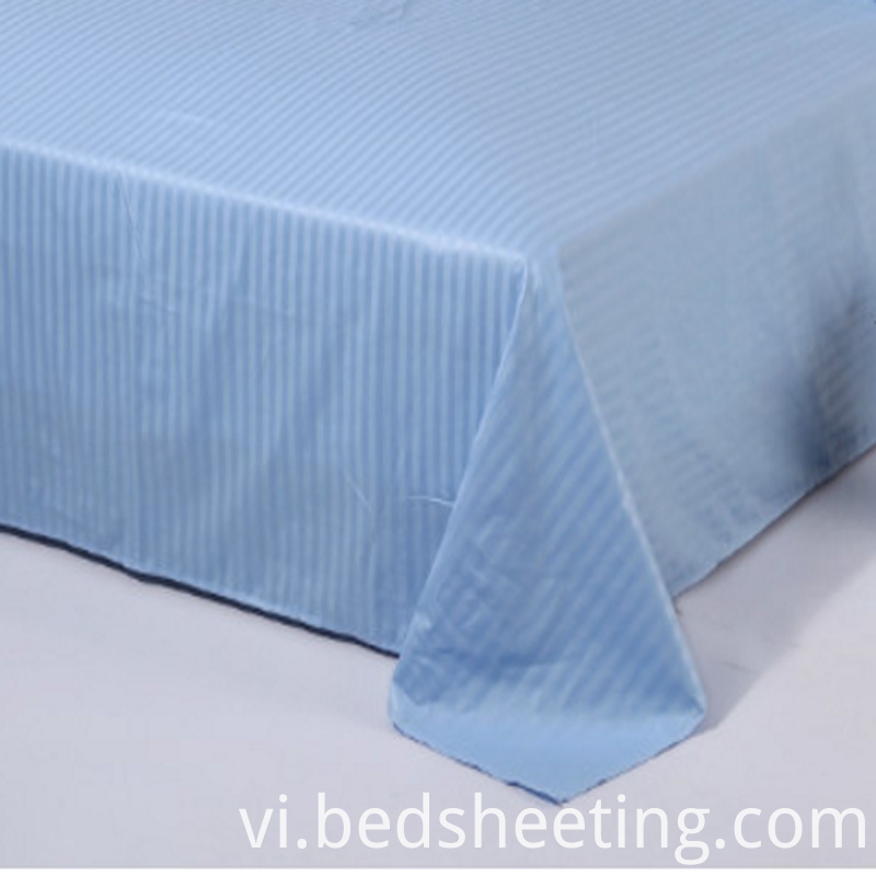 Cvc Sateen Stripe Dyed Bed Sheets