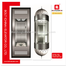 AC VVVF Full Collective Sightseeing Glass Elevator Lift