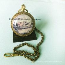 Relógio de bolso de moda vintage de movimento Japão com corrente