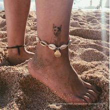 Popular Personality Fashion Natural Shell Scallop Woven Anklet Female
