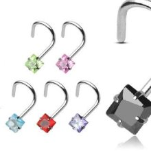 Nose Screw with Prong Set Gem Square