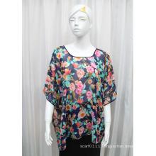 Women Fashion Flower Printed Polyester Chiffon Silk T-Shirt (YKY2224)