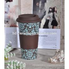 12 oz caneca de café com tampa de silicone e manga