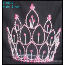 Hot selling factory directement accessoires pour les cheveux Pink rhinestones tiara nuptiale