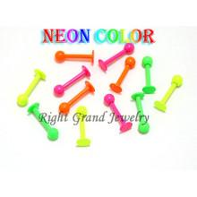 Neon Color anodizado muestra libre acero quirúrgico labio anillos