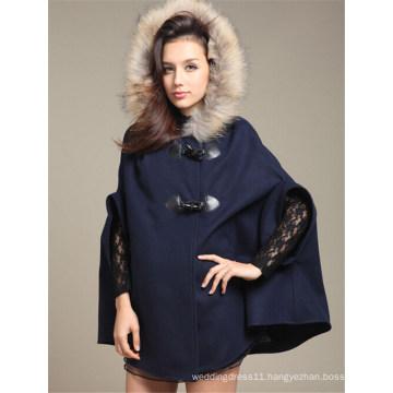 Fashion Women′s Batwing Wool Poncho Jacket (50031-1)