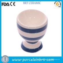 Taça de ovo pequeno bonito cerâmica branca e azul