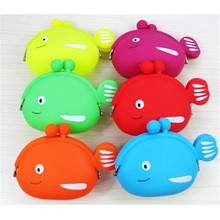 Lovely Fish Shape Cute Cratoon Silicone Coin Bags Wateproof