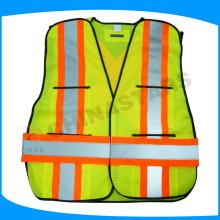 100% polyester gilet de sécurité 110gsm mesh avec poches multiples