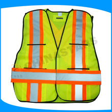 100% polyester 110gsm mesh safety vest with multi pockets