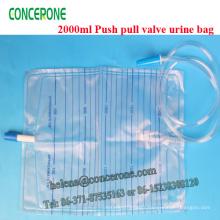Sac de collection d'urine de valve de traction de 2000ml