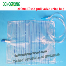 2000ml Push Pull Valve Urine Collection Bag