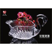 Pinggan mangkuk kaca swan buatan tangan Kristal pinggan mangkuk