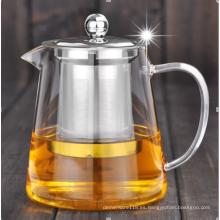 infuser del té de la tetera de la vidrio de Pyrex
