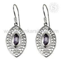 Reticulated silver earring amethyst gemstone bridal jewelry 925 sterling silver jewellery manufacturer india
