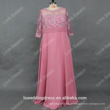 RP0173 2016 enrugamento de renda fino com pérolas vestido longo de noite amostra real modelo de vestido de noite meia manga mãe dos vestidos de noiva