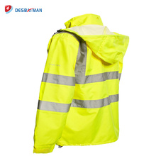 Custom High Visibility Reflective Tapes Safety Jacket Hi Viz Waterproof Warm Work Hooded Workwear Coat Winter