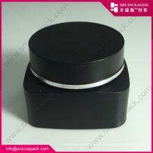 PP Creme Jar e Garrafa Black Color Cosmetic Packaging Set Atacado de plástico 50ml