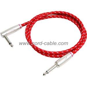 DBS Series Instrument Guitar Cable Jack 90° to Jack Red Braided