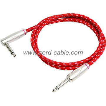 DBS serie instrumento guitarra Cable Jack 90° a Jack Red trenzada
