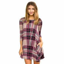 Premium robe de soirée en coton numérique imprimé à carreaux manches courtes femmes Casual Dresses