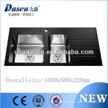 DS10050C Leeds fregadero de cocina de vidrio negro China hecho a mano