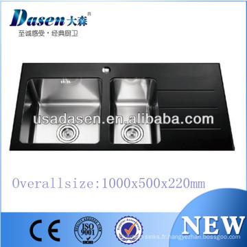 DS10050C Leeds évier en verre noir Chine fait à la main
