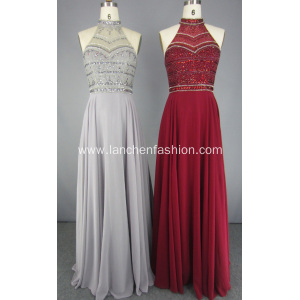 Latest Fashion Chiffon Sequined Beading Prom Dresses