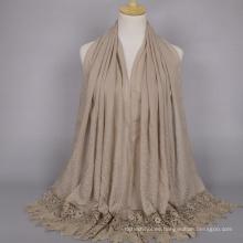 Nueva llegada de color sólido Bufanda de algodón bufandas coloridas musulmán de encaje árabe hijab bufanda de algodón