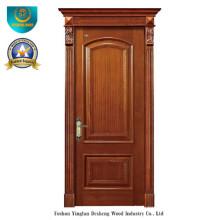 Porte en bois massif style européen simplifié pour intérieur avec sculpture (ds-8037)
