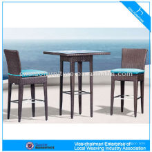 Fair price aluminum frame rattan patio bar set