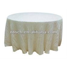 Arrugado mantel tafetán, paño de mesa redonda, mantel del banquete
