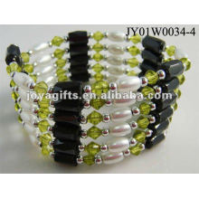 Magnetic Olive Glass Beaded wrap Bracelets & Necklace 36""