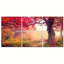 Herbst-Waldsegeltuch-Kunst für Hauptdekoration / Ahornholz-Segeltuch-Malerei / Dropship natürliche Landschaftssegeltuch-Wand-Kunst